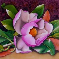 Silk Painting Magnolia grandiflora