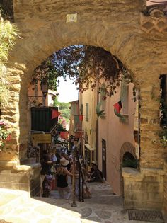 An evocative street in the pretty French city of Bormes les Mimosas in Provence