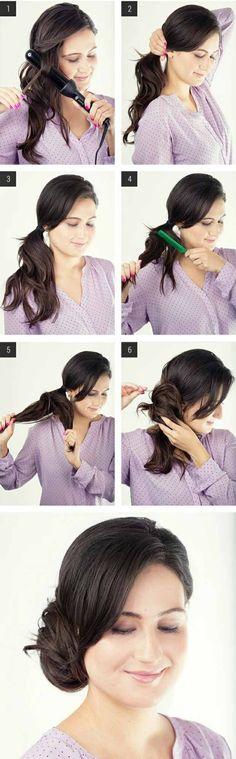 lässige Haarfrisuren Arbeitsalltag Hochsteckfrisur seitlich