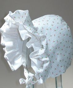 Rosebud Baby Bonnet- Double Ruffle-Summer Bonnet. $17.99, via Etsy.