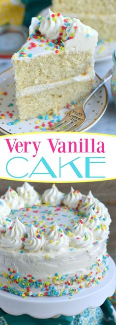 This very vanilla cake is bursting with sweet vanilla flavor! top with fresh fruit sprinkles or white chocolate curls for a beautiful finish! can be made dairy free too! mom on timeout ad super moist vanilla cake with vanilla buttercream frosting Cupcake Recipes, Cupcake Cakes, Dessert Recipes, Cake Icing, Köstliche Desserts, Delicious Desserts, Yummy Treats, Sweet Treats, Birthday Cake Flavors