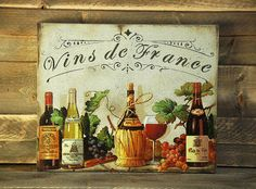 Vins de France wooden sign-Bar signs-Wine by RusticCraftsbySue