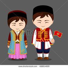 Montenegrins in national dress with a flag. Man and woman in traditional costume. Travel to Montenegro. People. Vector flat illustration.