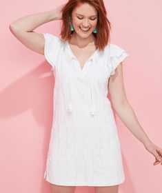 Shop Embroidered Palm Vineyard Tunic Dress at vineyard vines Double Ruffle, White Caps, Vineyard Vines, Palm, Cover Up, White Dress, Tunic, Shopping, Dresses