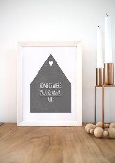 """Wanddeko - """"Home is where..."""" Din A4 Print - ein Designerstück von Doro-Illustrations bei DaWanda"""
