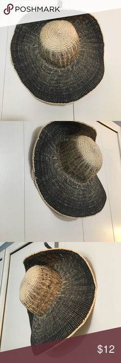 Floppy sun hat Super cute EUC floppy sun hat in straw and black. Tag says four buttons by San Diego Hat Co. women's OS. Spot clean Accessories Hats