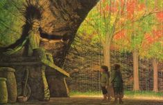 """Tolkien, """"The Two Towers"""" (""""Wellinghall,"""" by Ted Nasmith) Tolkien Books, Jrr Tolkien, Merry And Pippin, Glorfindel, John Howe, The Two Towers, Fandoms, Dark Lord, Fantasy Artwork"""