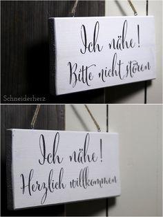Türschild Holz Nähzimmer inkl. Anleitung und Vorlage