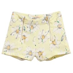 Flower Print Chiffon Shorts with Zip Front (896.000 VND) ❤ liked on Polyvore featuring shorts, bottoms, pants, short, patterned shorts, short shorts, floral printed shorts, floral print shorts and floral shorts