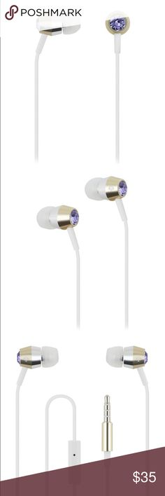 New Kate Spade Earbuds Tanzanite/Gold/Silver/White Brand New Kate Spade Earbuds | Tanzanite/Gold/Silver/White | Catch up on the latest podcast with these kate spade new york earbud headphones, which offer sparkly studs for style and an in-line microphone for hands-free calling. Ear cushions in 3 sizes are included to ensure a great fit. kate spade Accessories