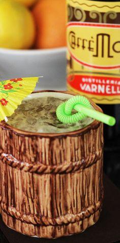 The Cableknit  1 ounce El Dorado 5-year rum  1 ounce Calvados  ½ ounce Smith & Cross Jamaica rum  ½ ounce Varnelli Caffe Moka (or a similar coffee liqueur)  ½ ounce Licor 43  1 ounce grapefruit juice