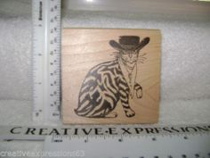 Tejas Rubber Stamps 1997 Western Cat Rubber Stamp ExCondition