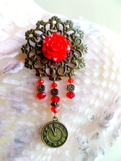 Red Rose Cameo Bronze Flower Red Glass Crystal by TattooedRoZe