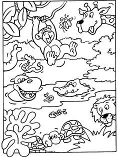 kleurplaat dieren - Google zoeken Animal Coloring Pages, Coloring Book Pages, Coloring Pages For Kids, Adult Coloring, Safari Jungle, Jungle Party, Jungle Animals, Preschool Jungle, Preschool Colors