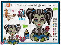 "Delicado Cantinho: Gráficos Ponto Cruz ""Monster High"""