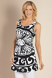 Exceedingly soft cotton knit top is all about the dramatic graphic - a stylized flower and artistic Greek border. Fashioned with a scoop front and back neckline at $59.95  http://www.bboescape.com/products/buy/285/clothing-accessories/Mykonos-Top-I-Black