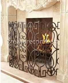 Circa 1860 French Rococo Bronze Fireplace Screen | Rococo ...