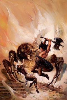 Dark Fantasy Art, Fantasy Artwork, High Fantasy, Arte Horror, Horror Art, Conan The Barbarian, Barbarian Movie, Alternative Art, Sword And Sorcery