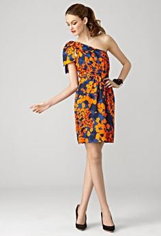 Orange and blue Milly one-shoulder dress. Fun Gator outfit!