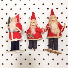 """A very vintage Kitschmas, Day 11: a trio of pipecleaner Santas with celluloid faces. #25daysofkitschmas #kitschmas #vintageSanta #vintageChristmas…"""