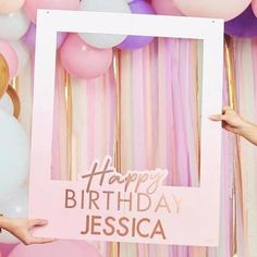 This personalised photo booth frame is a great way to make your birthday pictures memorable. Simply personalise with the stickers provided! Each pack contains 1 frame measuring (H) x (W) and 8 sheets of rose gold letter to customise. 50th Birthday Balloons, 25th Birthday Parties, Pink And Gold Birthday Party, Gold Party, Birthday Party Decorations, 26 Birthday, Paris Themed Birthday Party, Animal Birthday, Birthday Photo Frame