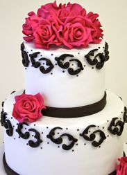 pink and black cake idea- we could do the icing in grey instead of black