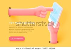 Vector site banner concept - cartoon realistic hand holding cell phone and other hand touch the screen, with place for your text and button. Banner Site, Rock Hand, Royalty Free Stock Photos, Ads, Templates, Cartoon, Hand Holding, Shutter, Landing