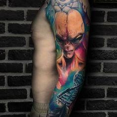 Ufo Tattoo, Free Tattoo Designs, Tattoo Models, All Tattoos, Watercolor Tattoo, Like4like, Neon, Smile, Colorful