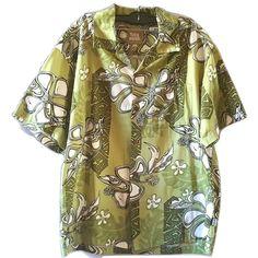 Toes On The Nose Mens Hawaiian Shirt Large Green Floral Shag Tiki Short Sleeve #ToesontheNose #Hawaiian