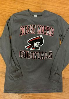 Robert Morris Colonials Charcoal Number One Design Distressed Long Sleeve T Shirt - 22785442 Robert Morris, Team Names, One Design, Pittsburgh, Long Sleeve Tees, T Shirt, Sweatshirts, Mens Tops, How To Make