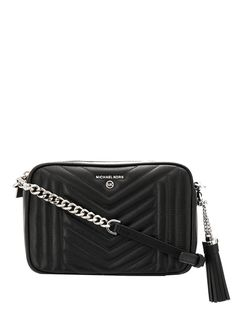 Black lamb skin Jet Set quilted camera bag from Michael Michael Kors featuring a silver-tone logo plaque, a top zip fastening, a hanging tassel, a chain and leather strap, an internal zipped pocket and a logo printed lining. Michael Kors Jet Set, Michael Kors Black, Chic Outfits, Women Wear, Shopping, Leather, Women Bags, Backpacks, Chain