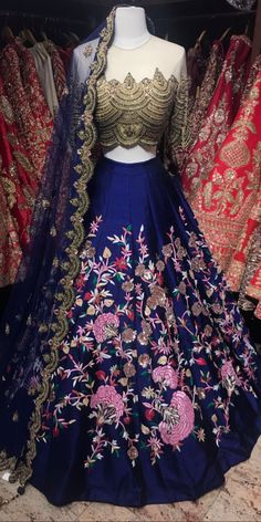Royal blue multi- threaded embroidery with gold zardozi and sequin work Fabric - Raw silk Blouse - Chest Length Skirt - Waist Length Indian Prom Dresses, Indian Dress Up, Indian Bridal Outfits, Indian Designer Outfits, Indian Attire, Indian Wear, Designer Bridal Lehenga, Indian Bridal Lehenga, Red Lehenga