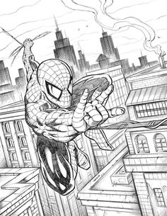 Spiderman Swinging Over the City by robertmarzullo.deviantart.com on @DeviantArt