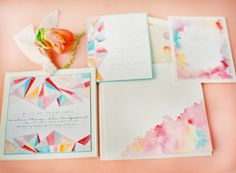 Watercolor and graphic mix invites designed by Kristy Rice of Momental Designs
