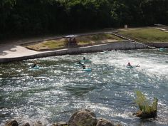 Tubers exiting the chute on the Comal River in beautiful New Braunfels, Texas