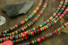 Multi Mini: African Vinyl Record Beads Heishi by WomanShopsWorld