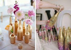 Que tal aproveitar garrafas pintando de dourado ou prateado para decorar sua festa de ano novo?