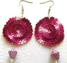 Purple crochet beaded earrings by PlanetEarthHandmade on Etsy, $12.00