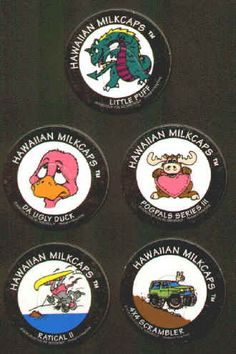 HAWAIIAN MILKCAPS (Worlds of Fun, BENJY, 1993): Die-cut, Printed in Hong Kong, Lot of 5 different, includes Little Puff (dragon), Da Ugly Duck, Pog Pals Series III Moose, 4x4 Scrambler, and Ratical II (skiing rat). All for $1.60