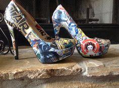 Star Spaceship High Heel Shoes by ShoebeedooBoutique on Etsy