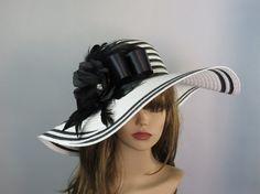 White Black Wedding Hat Kentucky Derby Hat by LadyHatsBoutique