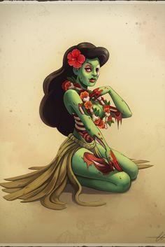 Zombie hula girl