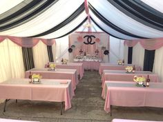Baby Shower Ideas For Girls Themes Paris Coco Chanel 61 Ideas Chanel Birthday Party, Chanel Party, 18th Birthday Party, Tent Decorations, Decoration Table, Baby Shower Decorations, Chanel Baby Shower, Paris Baby Shower, Shower Party