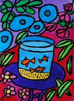 Matisse fish bowl - painting, composition. filling empty space, pattern, outline with small brush
