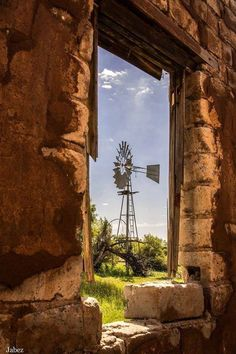 Windmill with pump, framed Farm Windmill, Old Windmills, Wind Of Change, Country Scenes, Window View, Through The Window, Old Farm, Le Moulin, Nature Scenes