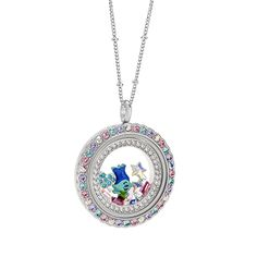 """Add cupcakes, rainbows and winks to your day with the Large Silver Living Locket® Base + Trolls """"Be Colorful"""" Scallop Face with Swarovski® Crystals."""