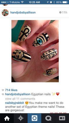 Nails ! Egyptian style nail art . So cool !