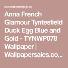 Anna French Glamour Tyntesfield Duck Egg Blue and Gold - TYNWP078 Wallpaper | Wallpapersales.co.uk
