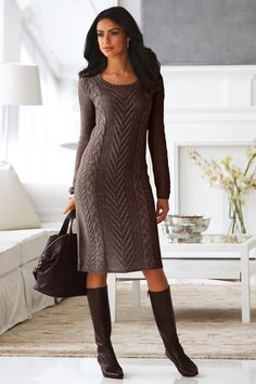 Cable Knit Sweater Dress & Ankle-strap Boot