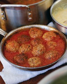 """Classic Beef Meatballs - Ricotta cheese helps to make these meatballs moist and delicious in this popular recipe from Daniel Holzman and Michael Chernow's """"The Meatball Shop Cookbook."""" I'm going to try to eliminate bread crumbs to SBD it. Beef Dishes, Pasta Dishes, Food Dishes, Main Dishes, Meat Recipes, Dinner Recipes, Cooking Recipes, Dinner Ideas, Healthy Recipes"""
